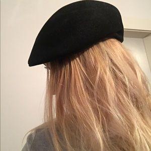 VTG 100% FUR BLACK GENUINE HAT -Captains/Fisherman